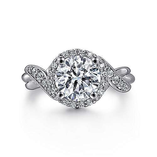 Gabriel - Shae 14k White Gold Round Halo Engagement Ring