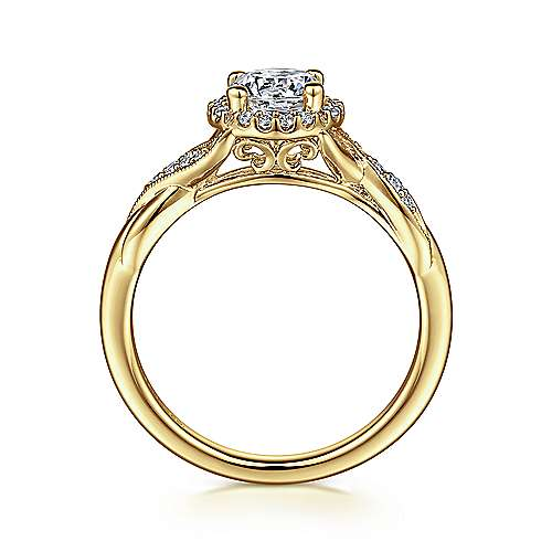 Shae 14k Yellow Gold Round Halo Engagement Ring angle 2