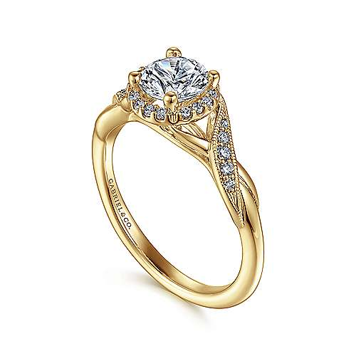 Shae 14k Yellow Gold Round Halo Engagement Ring angle 3