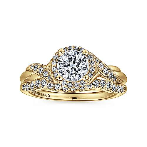 Shae 14k Yellow Gold Round Halo Engagement Ring angle 4