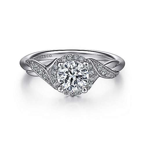 Gabriel - Shae Platinum Round Halo Engagement Ring