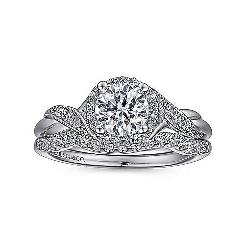 Shae Platinum Round Halo Engagement Ring angle 4