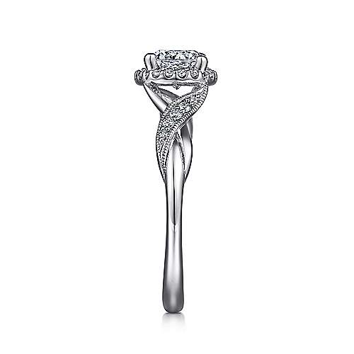 Shae Platinum Round Halo Engagement Ring angle 5