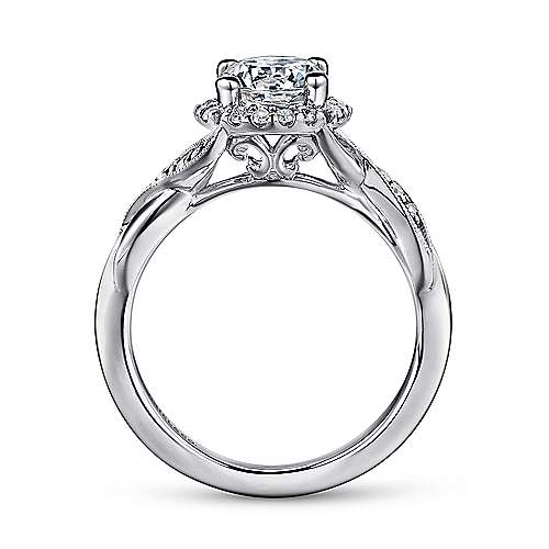 Shae Platinum Round Halo Engagement Ring angle 2