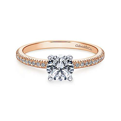 Gabriel - Shane 14k White And Rose Gold Round Straight Engagement Ring