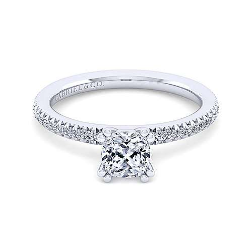 Gabriel - Shane 14k White Gold Cushion Cut Straight Engagement Ring