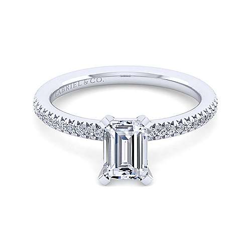 Gabriel - Shane 14k White Gold Emerald Cut Straight Engagement Ring