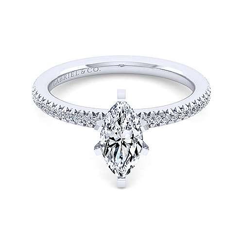 Gabriel - Shane 14k White Gold Marquise  Straight Engagement Ring