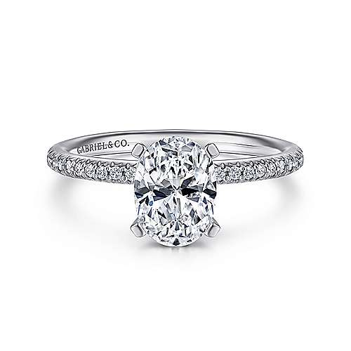Gabriel - Shane 14k White Gold Oval Straight Engagement Ring