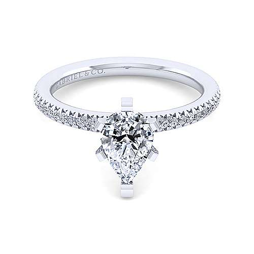 Gabriel - Shane 14k White Gold Pear Shape Straight Engagement Ring
