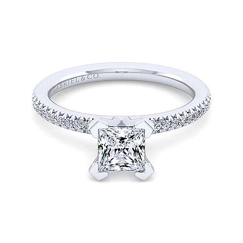 Gabriel - Shane 14k White Gold Princess Cut Straight Engagement Ring