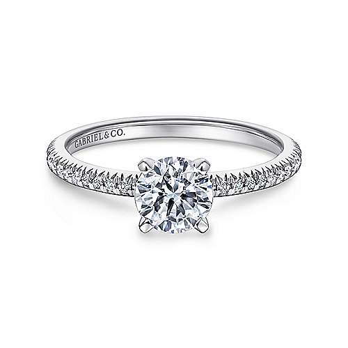 Gabriel - Shane 14k White Gold Round Straight Engagement Ring
