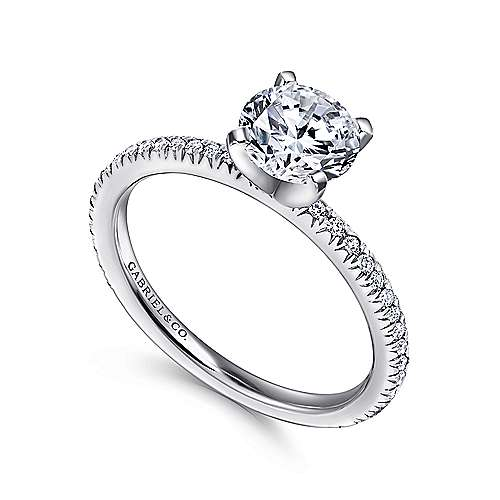 Shane 14k White Gold Round Straight Engagement Ring angle 3
