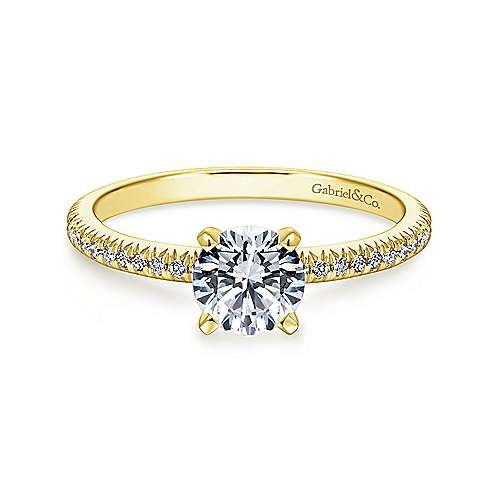 Gabriel - Shane 14k Yellow Gold Round Straight Engagement Ring
