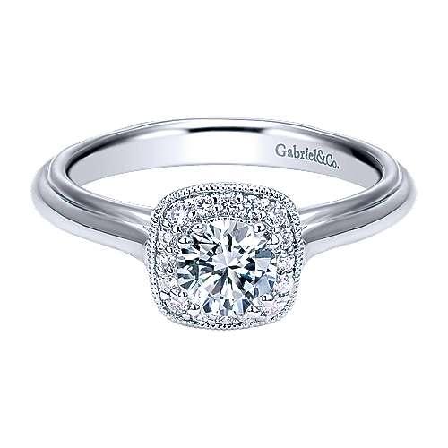 Gabriel - Shanina 14k White Gold Round Halo Engagement Ring