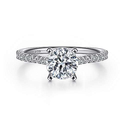 Gabriel - Shanna 14k White Gold Round Straight Engagement Ring