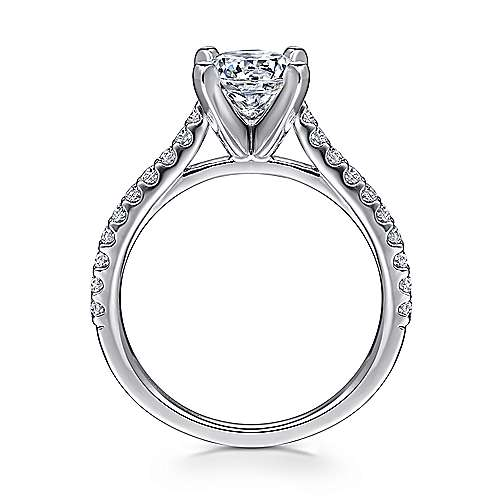 Shanna 14k White Gold Round Straight Engagement Ring angle 2