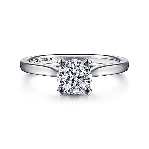 Gabriel - Shannon 14k White Gold Round Solitaire Engagement Ring