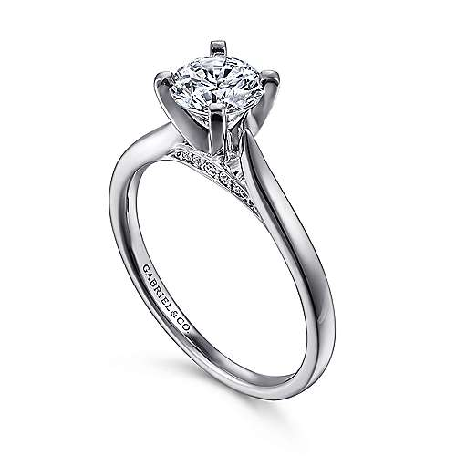 Shannon 14k White Gold Round Solitaire Engagement Ring angle 3