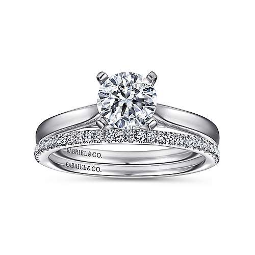 Shannon 14k White Gold Round Solitaire Engagement Ring angle 4