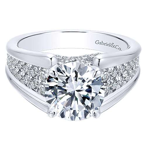 Gabriel - Shauna 18k White Gold Round Straight Engagement Ring