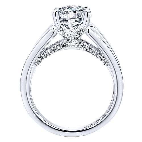 Shauna 18k White Gold Round Straight Engagement Ring angle 2