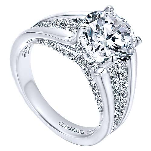 Shauna 18k White Gold Round Straight Engagement Ring angle 3