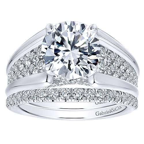 Shauna 18k White Gold Round Straight Engagement Ring angle 4