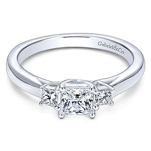 Gabriel - Shay 14k White Gold Princess Cut 3 Stones Engagement Ring