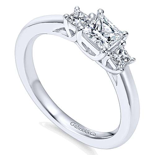 Shay 14k White Gold Princess Cut 3 Stones Engagement Ring angle 3