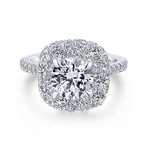 Gabriel - Sheer 18k White Gold Round Halo Engagement Ring