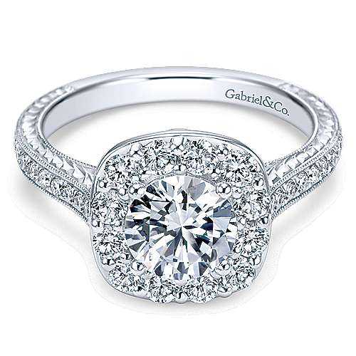Gabriel - Sheila 14k White Gold Round Halo Engagement Ring