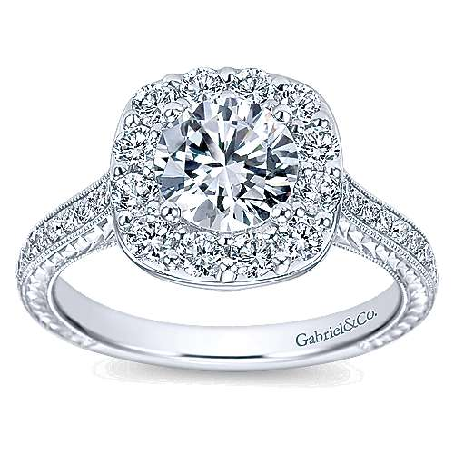 Sheila 14k White Gold Round Halo Engagement Ring angle 5