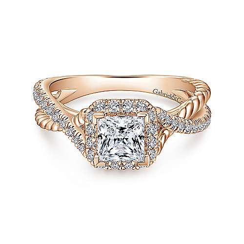 Gabriel - Sheridan 14k Rose Gold Princess Cut Halo Engagement Ring