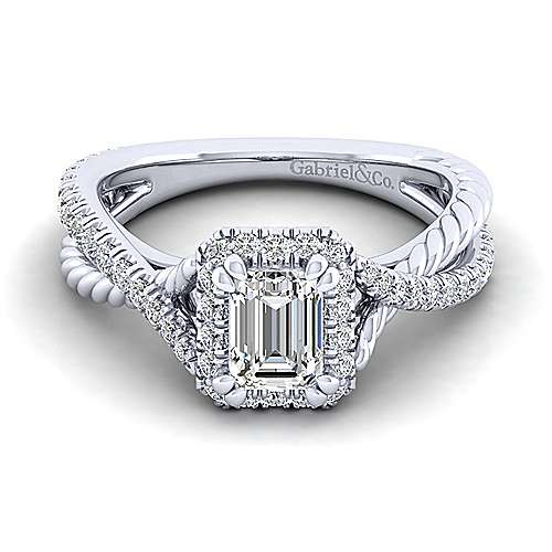 Gabriel - Sheridan 14k White Gold Emerald Cut Halo Engagement Ring