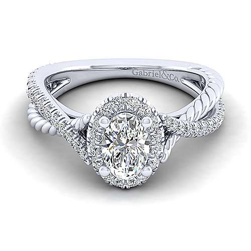 Gabriel - Sheridan 14k White Gold Oval Halo Engagement Ring