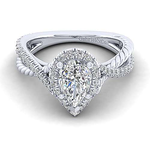 Gabriel - Sheridan 14k White Gold Pear Shape Halo Engagement Ring