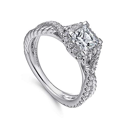 Sheridan 14k White Gold Princess Cut Halo Engagement Ring