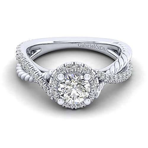 Gabriel - Sheridan 14k White Gold Round Halo Engagement Ring