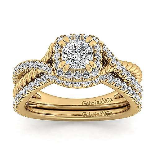 Sheridan 14k Yellow Gold Cushion Cut Halo Engagement Ring angle 4