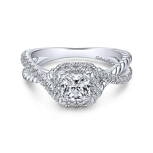 Gabriel - Sheridan 18k White Gold Princess Cut Halo Engagement Ring
