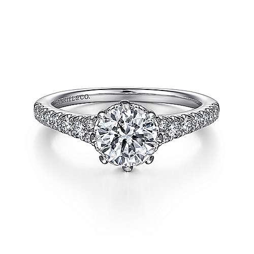 Gabriel - Sherilynn 14k White Gold Round Straight Engagement Ring