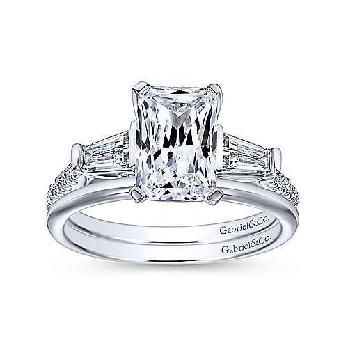 sheryl 14k white gold emerald cut 3 stones engagement ring angle 4 - Emerald Cut Wedding Rings