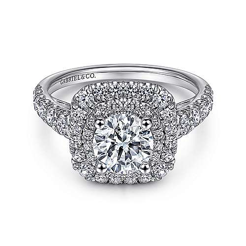 Gabriel - Sheyna 14k White Gold Round Double Halo Engagement Ring