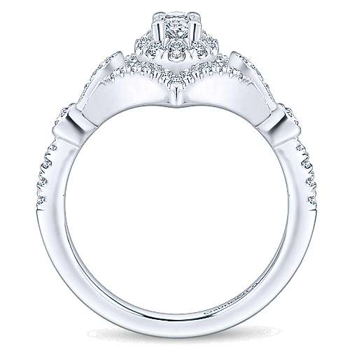Shiby 14k White Gold Oval Halo Engagement Ring angle 2