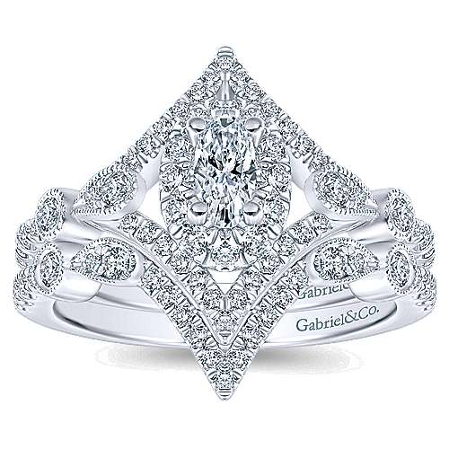 Shiby 14k White Gold Oval Halo Engagement Ring angle 4