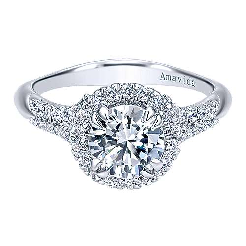 Shimmer 18k White Gold Round Halo Engagement Ring angle 1