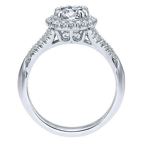 Shimmer 18k White Gold Round Halo Engagement Ring angle 2