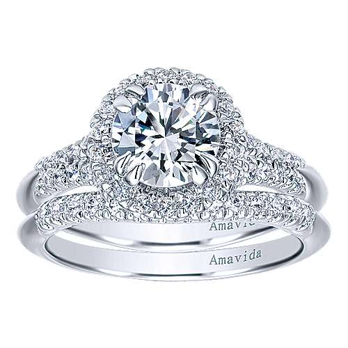 Shimmer 18k White Gold Round Halo Engagement Ring angle 4