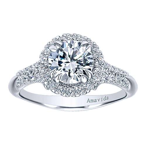 Shimmer 18k White Gold Round Halo Engagement Ring angle 5